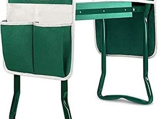 TomCare Upgraded Garden Kneeler Seat Widen Soft Kneeling Pad Garden Tools Stools Garden Bench with 2 large Tool Pouches Outdoor Foldable Sturdy Gardening Tools for Gardeners  Green