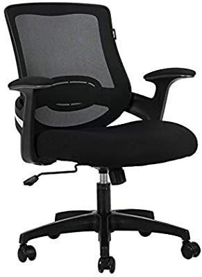 Hbada Ergonomic Office Chair Computer Desk Chair Mid Back Mesh Task Chair with Strong Shield Type lumbar Support  Height Adjustable Swivel and Rocking Chair with Padded Armrest  Black