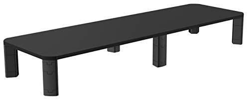 Xl Dual Monitor Stand   Big 42  long by 10  Deep  Ample Space for 2 Monitors or Printer  Books   More  Riser for Ultimate Storage Organization with Slot for Phone or Tablet