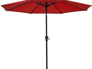 Bluu Patio Umbrella 9 Ft Outdoor Table Market Umbrellas With Push Button Tilt and Crank  8 Ribs black