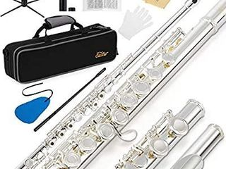 Eastar EFl 2 Open Close Hole C Flutes 16 Keys Silver Plated Beginner Flute Set with Fingering Chart  Hard Case  Cleaning Rod  Cloth  Flute Swab  Screwdriver and Gloves