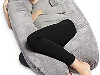 Pregnancy Pillow with Velvet Cover U Shape Full Body Maternity Pillow for Pregnant Women Support Gray