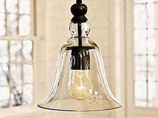 WINSOON Ecopower 1 light Vintage Big Bell Glass Shade lamp Pendent Fixture