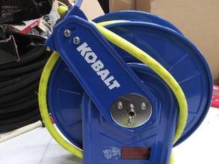 Kobalt air hose reel with hose on it looks used