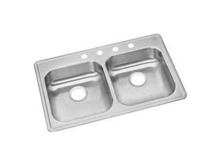Elkay 33 long by 22 wide by 8 deep top mount double bowl kitchen sink 20 gauge stainless steel