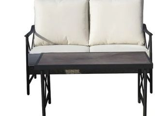 Allen and Roth rotten woven loveseat and coffee table