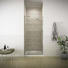 KOHlER Revel 43 125 in to 48 in Brushed Nickel Frameless Pivot Shower Door