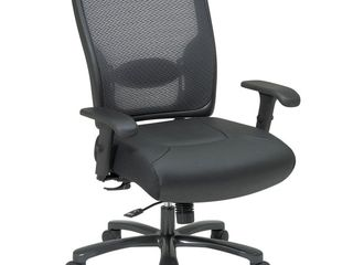 Office Star Big Mans Double AirGrid Back and layered leather Seat Ergonomic Chair