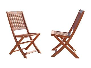 Vifah Set of 2 Outdoor Eucalyptus Wood Folding Bistro Chairs   Brown