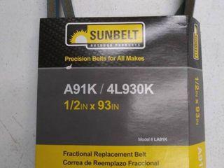 Sunbelt Deck drive Belt 1 2 in X 93 in Wrapped Aramid Cord V belt la91k