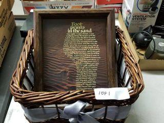 Wicker baskets with framed footsteps poem