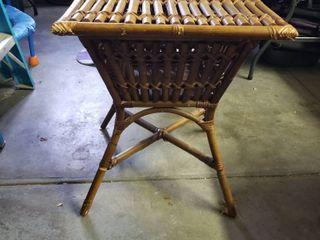 Rattan side table w storage 25 x 22 x 22
