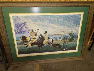 Blackbear Bosin Framed Wichita My Son signed Art 29 x 40 in