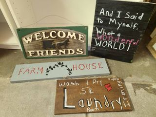 Welcome Sign with Handpainted Wall Decor lot of 4