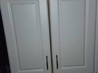 White Wood 3 Door Cabinet 30 x 24 x 12 in