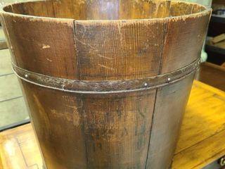 Wooden Barrel Pot 14 5 x 15 5 x 15 5 in