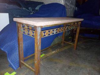 Stone Top Metal Sofa Table 30 x 54 x 18 in