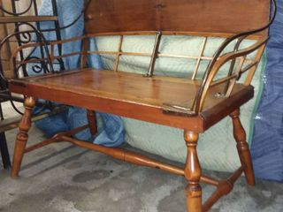 JH Randlett Wooden and Iron Bench 33 x 29 x 20 in