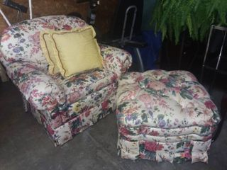 Brunschwig and Fils Floral lounge Chair with Ottoman and 2 Throw Pillows