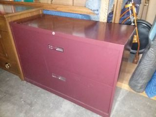Maroon Metal 2 Drawer lateral Filing Cabinet 29 x 42 x 18 in