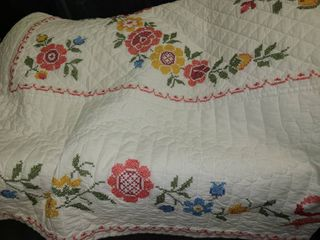 QUIlT Approximately 82 x 62  Has few small stains