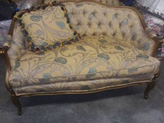 French Provincial   louis XV loveseats with gold leaf finish with Throw Pillow