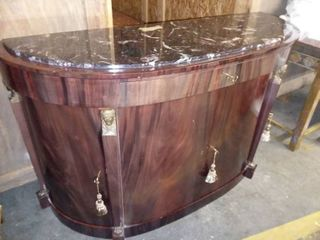 Curved Dark Wood Marble Top Entry or Sofa Table with Storage 35 x 55 x 21 in