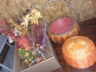 Pumpkin Baskets and Fall Faux Flowers