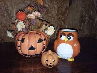 Haeger Pumpkin Flower Pot with Ceramic Owl Mug and Ceramic Pumpkin