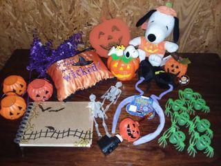 Halloween Snoopy Stuffed Animal and Coin Bank with Assorted Halloween Items