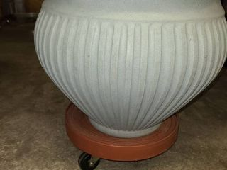 Blue Gray 12 in Plastic Flower Pot with Rolling Stand
