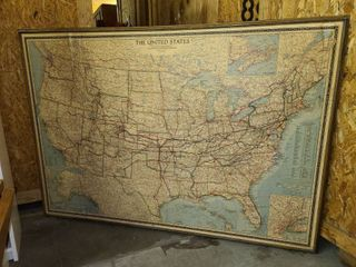 Framed United States Map 48 x 68 in