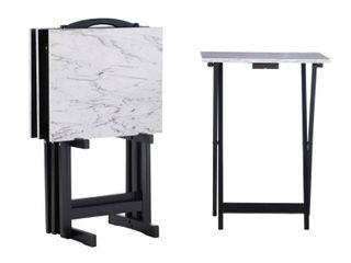 Faux Marble Tray Table Set White   linon