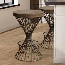 Carbon loft Britton Backless Non swivel Stool  Retail 158 49 pewter metal and weatherd walnut wood