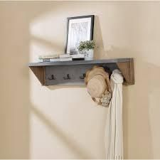 The Gray Barn Enchanted Acre 40 inch Coat Hook with Shelf stone gray and light amber