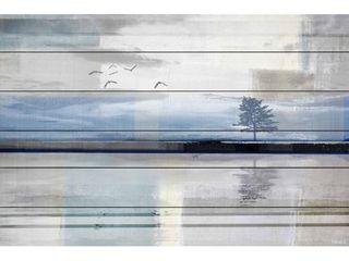 Handmade Parvez Taj   Shimmering Reflection Print on White Wood  Retail 159 99