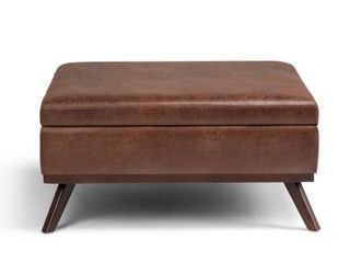 WYNDENHAll Ethan 36 inch Wide Mid Century Modern Square Table Ottoman  Retail 289 99