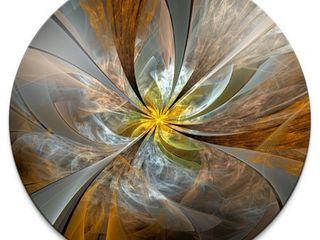 Designart  Symmetrical Yellow Fractal Flower  Digital Art Circle Metal Artwork  Retail 155 99