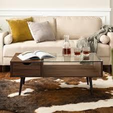 Carson Carrington Saltaro Glass Top Coffee Table  Retail 228 99 dark walnut