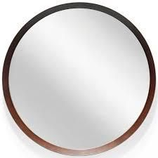 18 inch Round Decorative Hanging Wall Mirror with Wood Finish