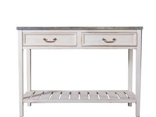 Vintage Wood and Metal Console Table  Retail 228 49 white