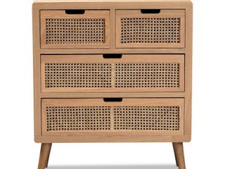 Carson Carrington Dafverud Modern Oak Finished Wood and Rattan Accent Chest  Retail 301 99