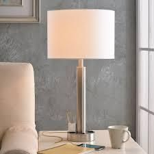 Nora 27  Brushed Steel Table lamp only with 2 Outlets  Retail 92 99