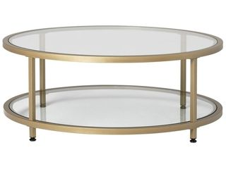 Studio Designs   Camber Round Tempered Glass Coffee Table   Clear gold frame