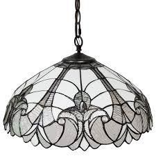 tiffany style white 18 inch floral hanging light