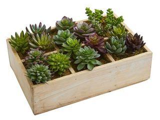 12  Mixed Succulent Garden in Tray Artificial Plant