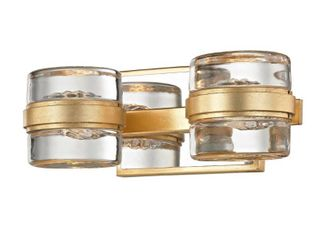 Troy lighting Splash 2 light Gold leaf Polished Chrome Accents lED Bath Wall Sconce  Retail 260 99