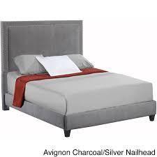 brookside upholstered triple lined platform bed queen dark grey complete set