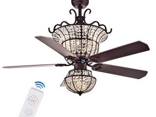 Charla 4 light Crystal 5 blade 52 inch Chandelier Ceiling Fan  Optional Remote   2 Color Option Blades  Retail 374 99