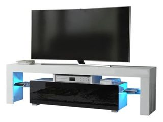 Milano 160 Modern 63  TV Stand only Matte Body High Gloss Fronts with 16 Color lEDs   19 1 h x 63 w x 13 8 d  Retail 431 99 white and black